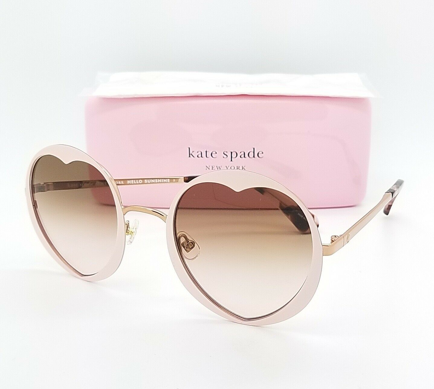 Kate Spade pink gold heart shaped GRADIENT SUNGLASSES Rosaria / s 35jm2