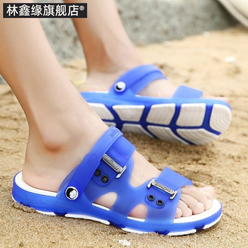 Japanese bottom massage sandals foam bottom outside the mens cold towing is not afraid of water travel Pingliang slippers fat feet indoor thick