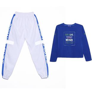 春秋曳步舞服裝新款套裝女嘻哈風運動服時尚街舞休閒裝洋氣兩件套