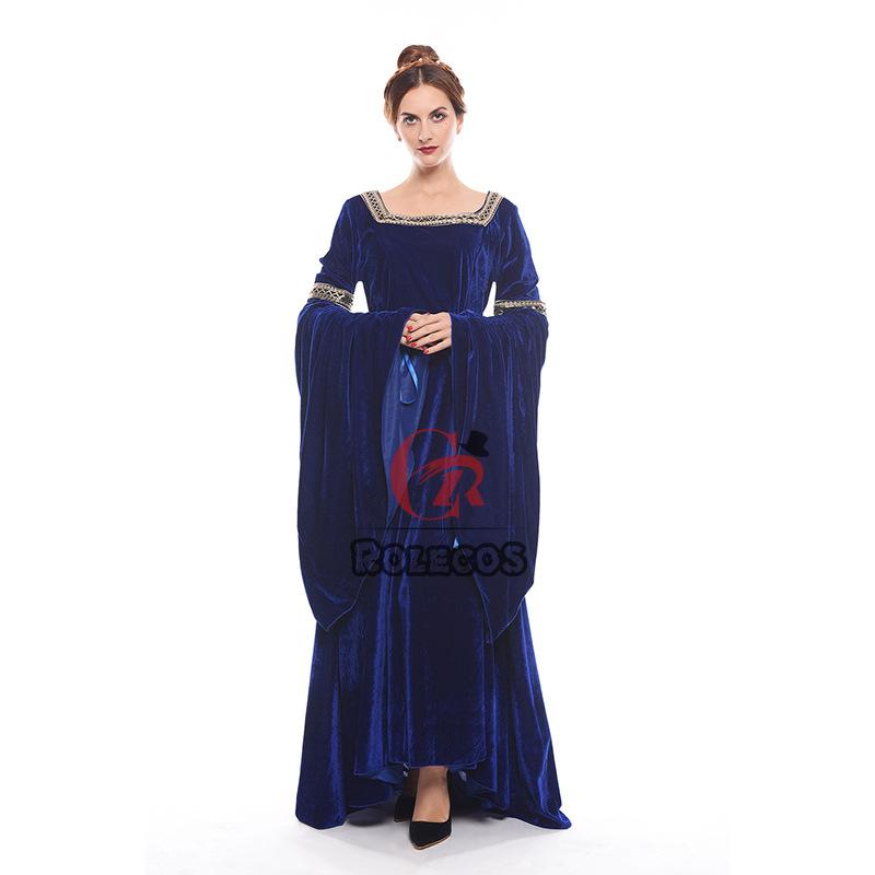 欧美长袖连衣裙女文艺复兴时期的中世纪服饰F06