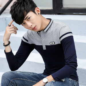 秋季长袖T恤男带领男装修身全棉打底衫有领POLO衫体恤秋衣服丅桖
