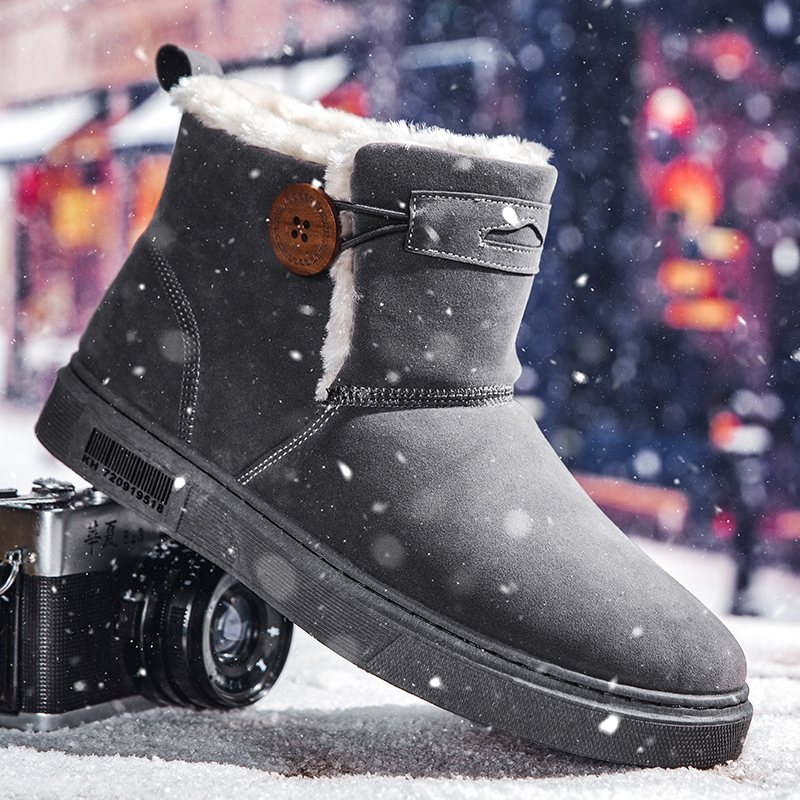 Snow Boots Mens shoes plush cotton shoes outdoor antiskid wool shoes new mid top thermal boots in winter