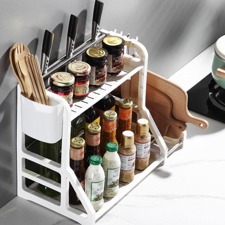 厨房置物架免打孔调料架收纳架刀架神器筷子刀具塑料用品家用大全