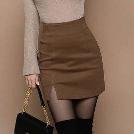 毛呢包臀裙女新款秋冬高腰显瘦开叉一步裙包裙紧身半身裙呢子短裙