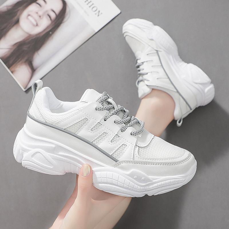 老爹鞋2019新款女士运动鞋反光厚底小白鞋女冬季韩版百搭原宿女鞋