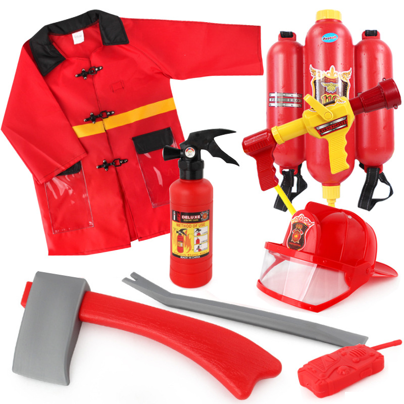 Children's simulation series cap fire extinguisher clothing accessories set role play stage performance props