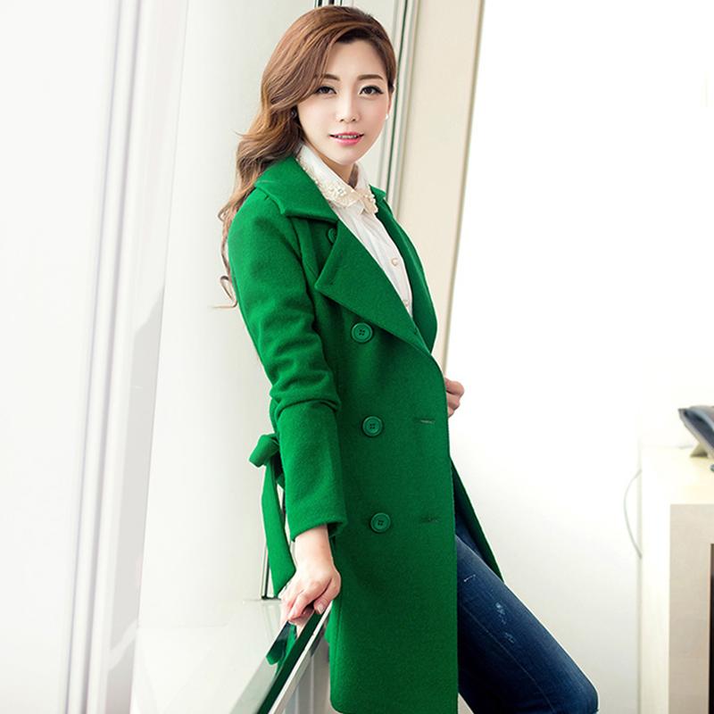 2020 winter new Korean mid long woolen coat lace up waist green woolen coat for women