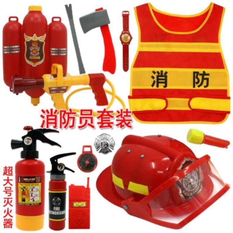男孩泳池派对外出儿童消防员套装背包式幼儿园角色扮演创意道具游
