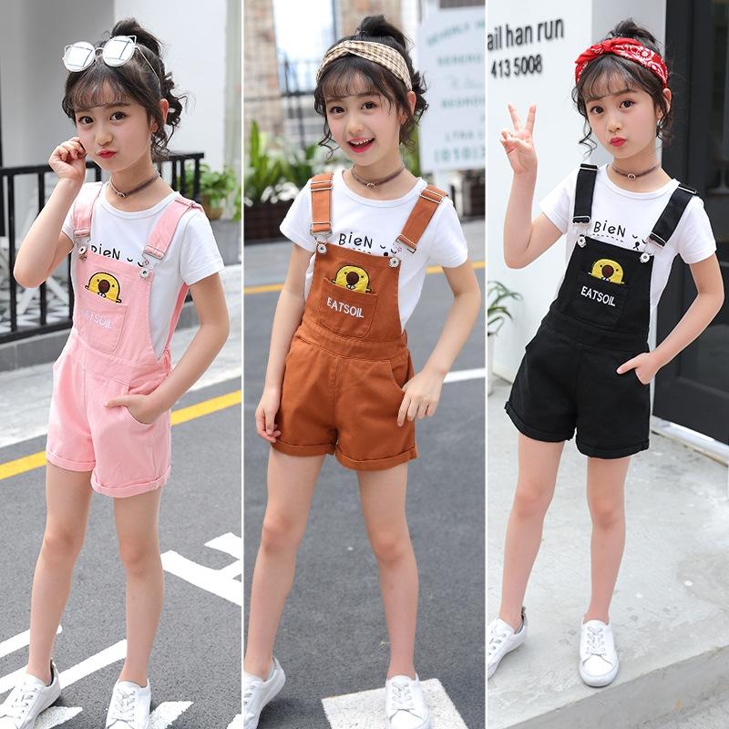 Flagship store girls backpack Shorts Set 7 summer 9 suspenders 8 little girls 10-year-old girls short sleeve T-shirt 11
