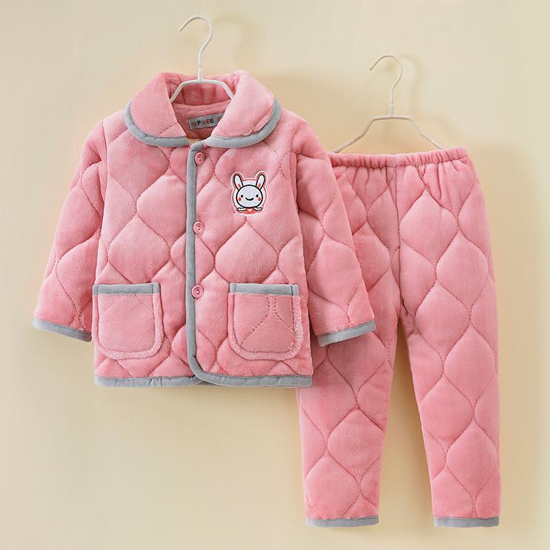 秋冬儿童睡衣套装加厚三层夹棉男女童法兰绒家居服中大童加绒保暖