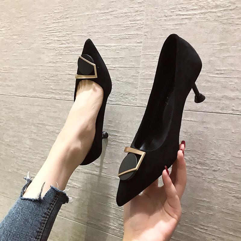 绒面法式少女尖头黑色高跟鞋女细跟2019新款性感百搭仙女风小单鞋