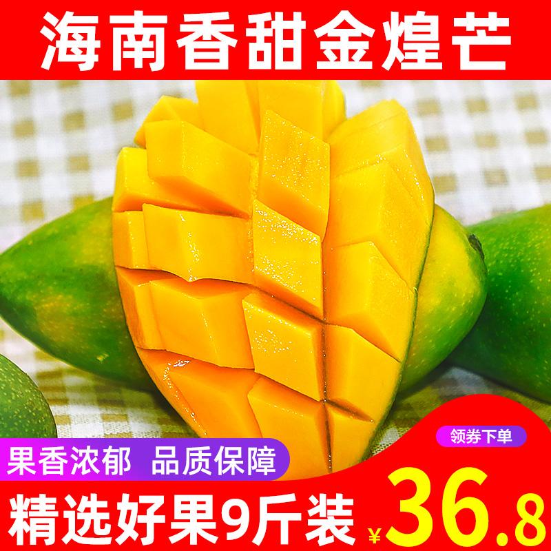 【聚小美】海南金煌芒果 当季水果应季芒果新鲜整箱9斤装批发包邮