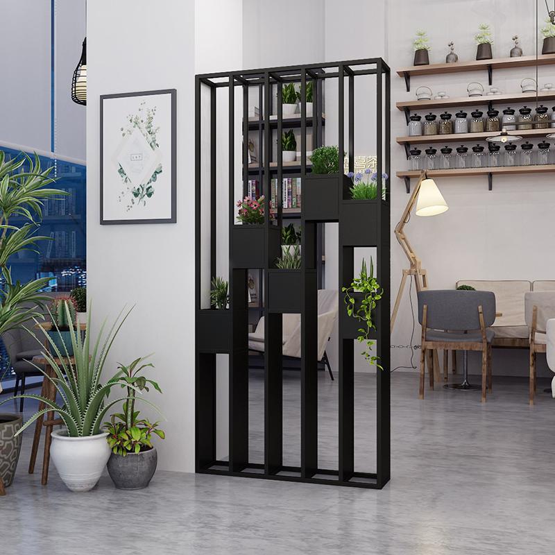 铁艺屏风隔断客厅餐厅轻奢不锈钢创意镂空玄关装饰墙办公室展示架