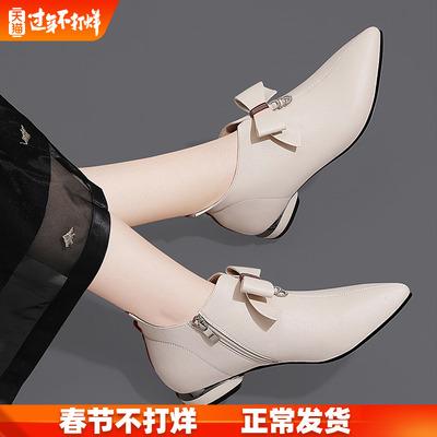 女鞋春秋单鞋2020年春款淑女英伦小皮鞋女白色韩版百搭低跟平底鞋