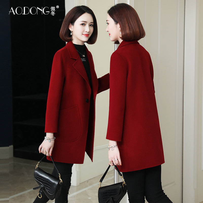 New double sided cashmere 100% wool coat women's middle and long woolen jacket