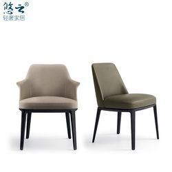 悠云/意大利设计白腊实木chair餐椅子/可定制真皮书椅/2019新款