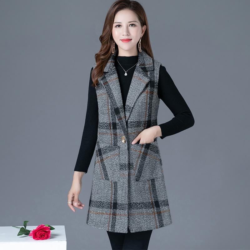 妈妈装春秋格子大码呢子马甲女中长款中年韩版洋气无袖坎肩外套女