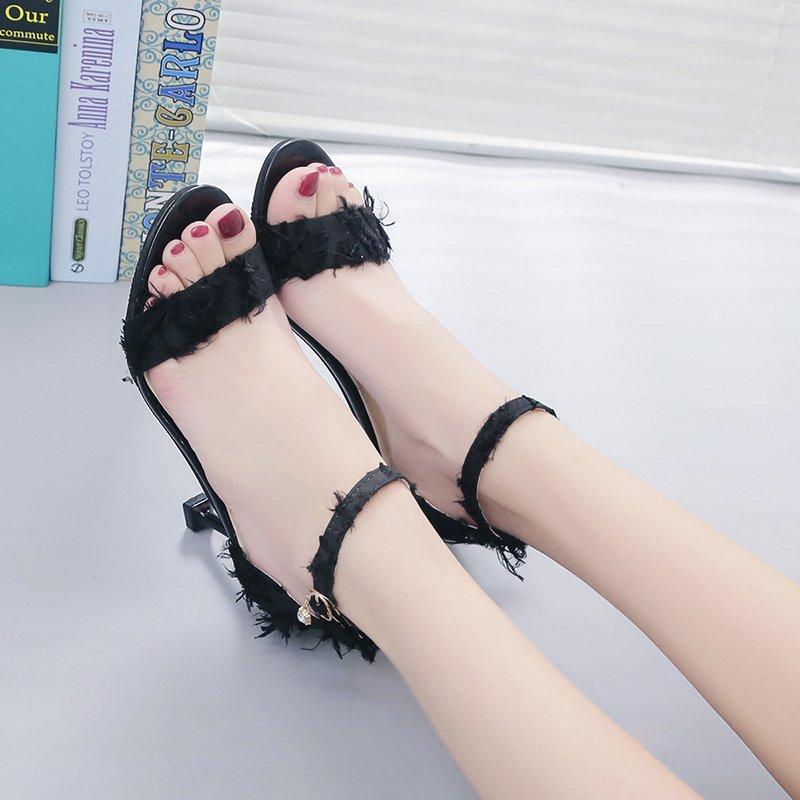 百搭配裙子穿的鞋高跟鞋子女2019潮鞋单鞋夏季凉鞋女夏天新款中跟