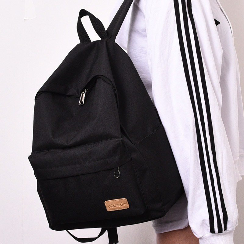 Leisure bag pure black small size practical girl simple capacity double shoulder bag college style backpack mens Korean simplicity
