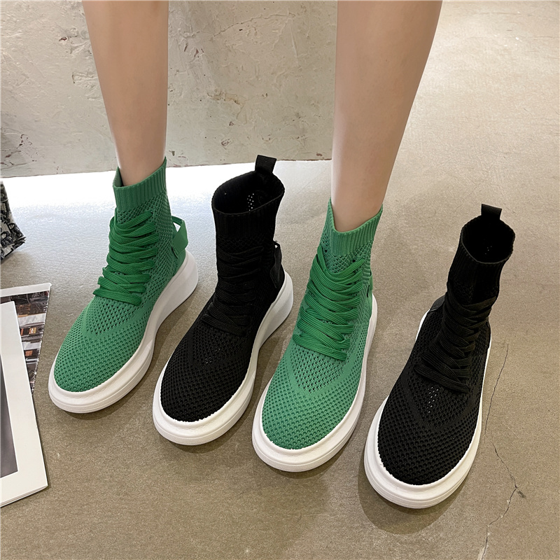 Socks shoes womens summer thin high top shoes 2021 new thick sole elastic flying mesh sports daddy knitted boots