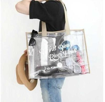 Bag waterproof large-capacity women's hand carry clothes bag bathroom shower bath shower transparent jelly bag vacation