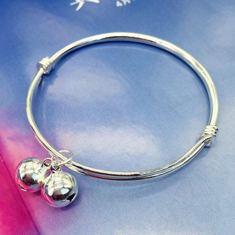 New Korean small fresh bell Bracelet Silver Fashion Chain girls smooth face simple versatile temperament foot ring