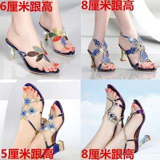 夏季新款凉鞋女潮水钻百搭粗跟韩版时尚防水台高跟大码镶钻女鞋