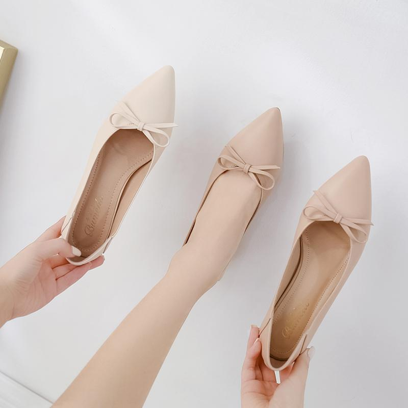 Single shoe lady 2020 spring versatile pointed lady thick heel French small high heel spring fairy style evening dress shoes
