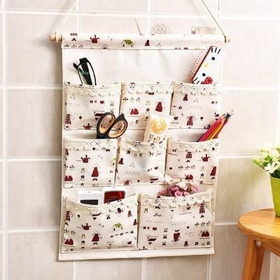 布艺后墙布袋上铺分类房间袋子挂在墙上的收纳袋多层卫生间床铺卡