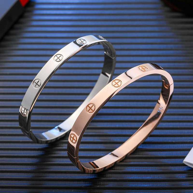 Korean fashion temperament titanium steel rose gold couple Bracelet eternal ring titanium steel colorless Bracelet