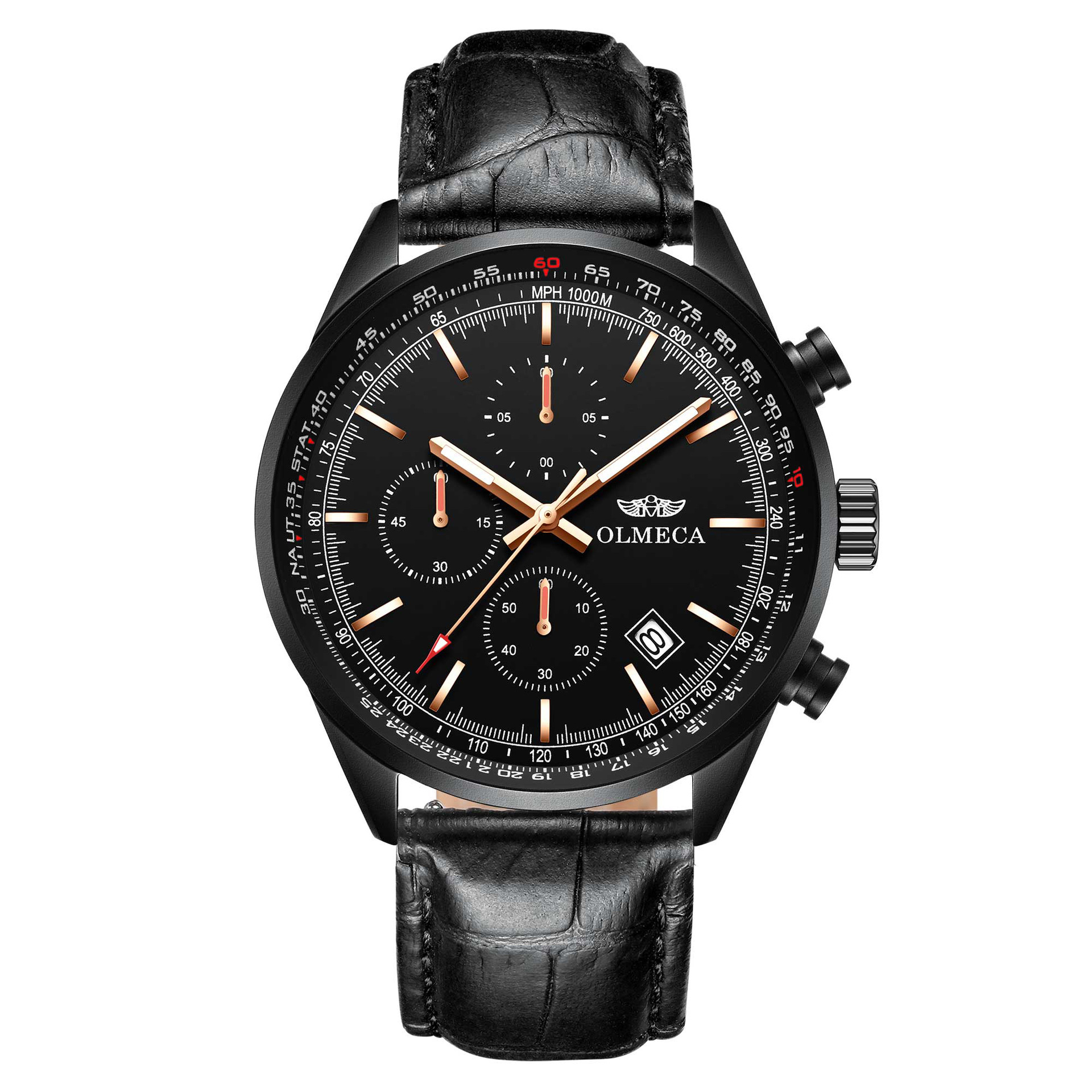 ECA锗石保健磁疗能量手表多功能运动不锈钢蓝宝石高档男士手表C09