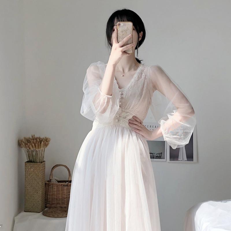 满124.50元可用1元优惠券2019新款仙女超仙甜美森系夏连衣裙
