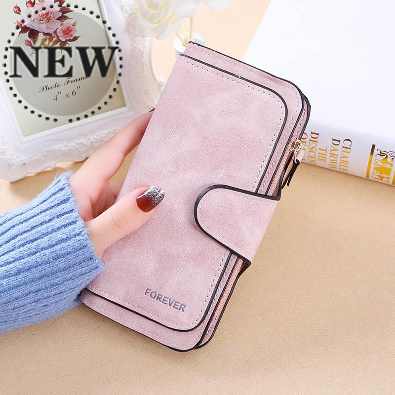 New style buckle Korean 30% off fashionable womens bag multi card womens purse frosted two color fabric