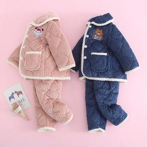 儿童睡衣冬季加绒加厚款男童冬款女童宝宝法兰绒夹棉珊瑚绒家居服