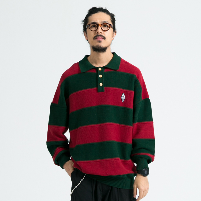 T. C.S | early spring 2020 Lapel LS sweeter Japanese Vintage Stripe Polo