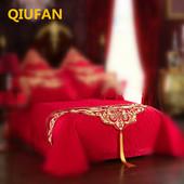 结婚饰品婚床上用品大红色全棉贡 床旗一条 缎刺绣1.8米正品 桌旗