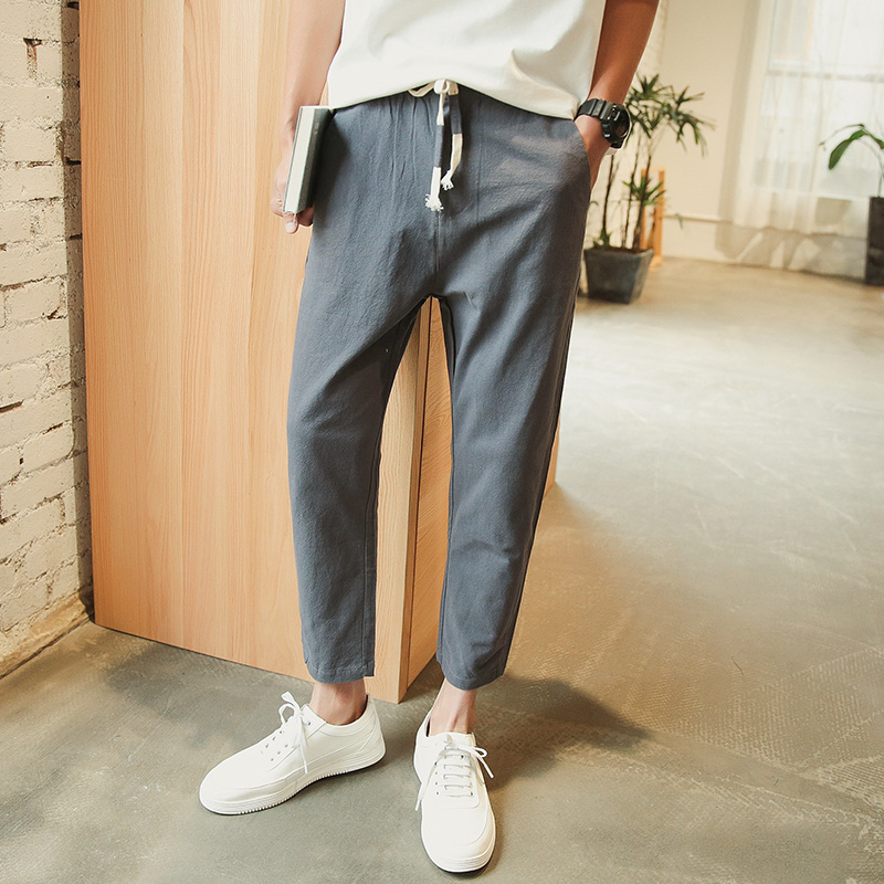 New Japanese cotton linen cropped trousers for men in 2020 summer