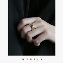 925纯银戒指女时尚简约个性镀18k金潮人复古网红菱形格纹食指戒子