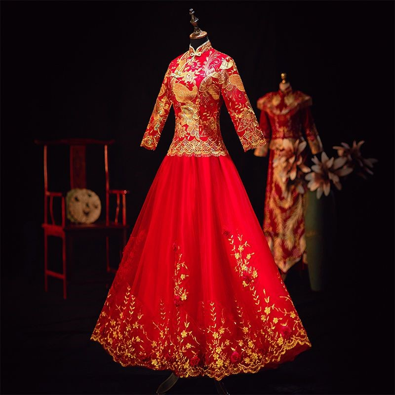 Xiuhefu bride 2019 new spring and summer toast wedding Hefu Chinese wedding dress wedding dress show kimono girl