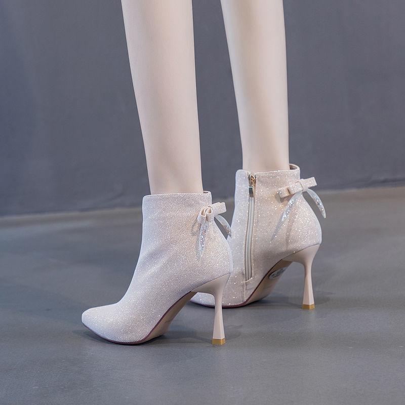 新款 欧美少女水钻短靴女尖头细跟蝴蝶结高跟鞋2020春季马丁靴瘦