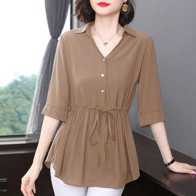 短袖衬衫女显瘦中袖夏季新款宽松遮肚收腰上衣黑色大码中长款薄款