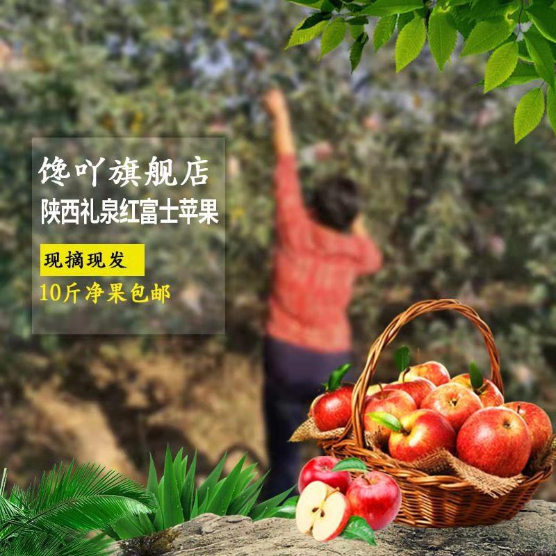 现摘陕西礼泉红富士苹果水果新鲜包邮当季应季脆甜孕妇10斤净果券后20.00元