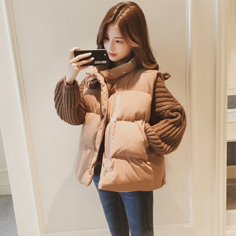 Fashionable down cotton vest womens light and thin hooded short sports versatile womens fashionable down cotton vest
