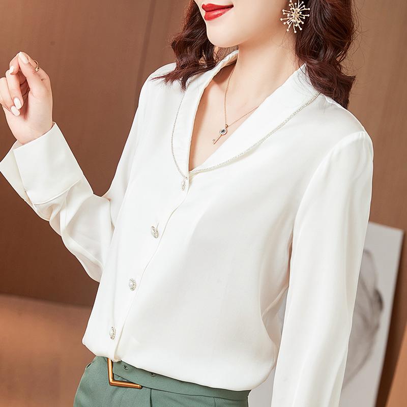 2021 spring and summer new professional silk shirt womens long sleeve fashion V-neck diamond edge mulberry silk shirt white