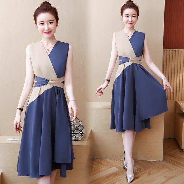 KTY10254#夏装新款2020韩版百搭无袖拼色连衣裙气质收腰显瘦时髦