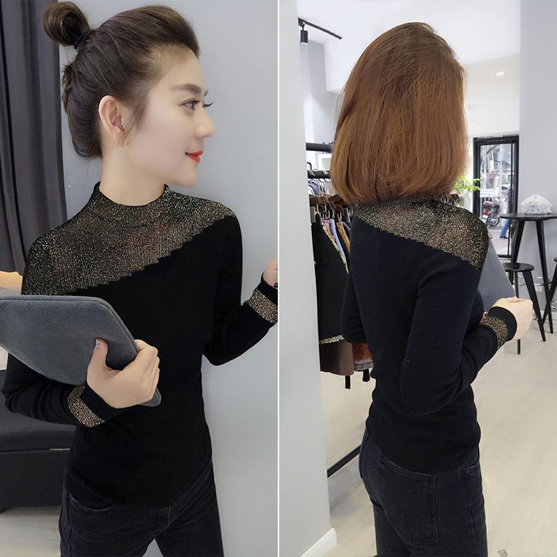 欧洲站春装新款2021欧货女士黑色修身打底衫毛衣内搭针织衫上衣