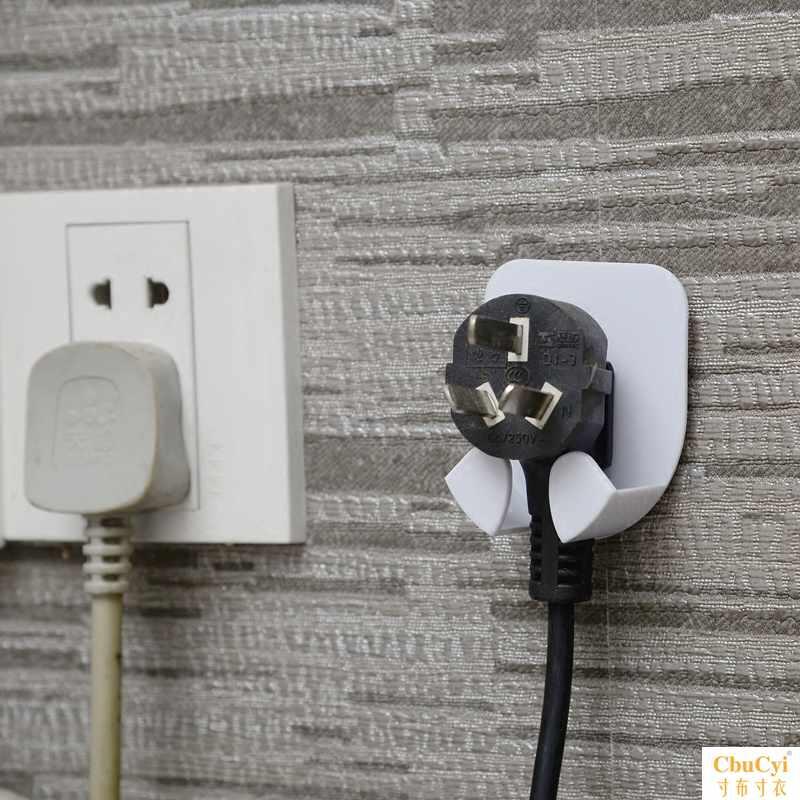 日本电源插头支架挂钩厨房墙壁强力粘贴电器插头创意收纳挂钩粘钩