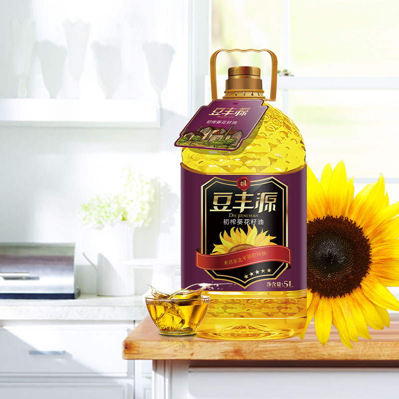 Doufengyuan non transgenic sunflower seed oil household barrel edible oil 5L package delivery pregnant women Nutrition Gold Oil