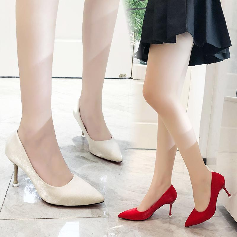 Red wedding shoes for women 2019 new silk bridal shoes high heeled and versatile wedding slim heel pointed head shallow mouth single shoes