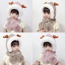 冬季儿童帽子围巾一体男女童加厚保暖毛绒可爱宝宝鹿角防风护耳帽